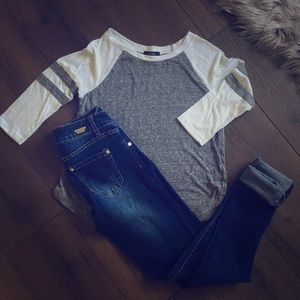 Grey and white tee
